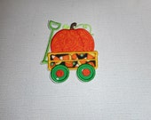Free Shipping   Ready To Ship  Pumpkin  Wagon  Fabric  Iron on applique