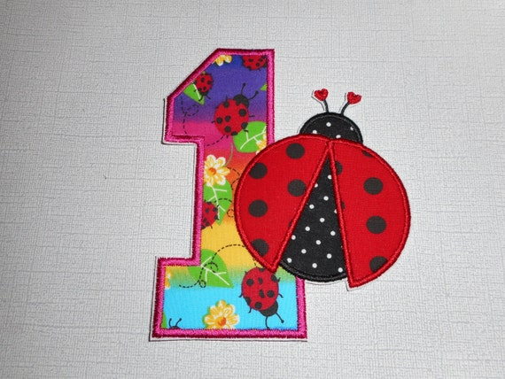 Free Shipping Ready to Ship         No 1 Lady bug   Fabric  iron on applique