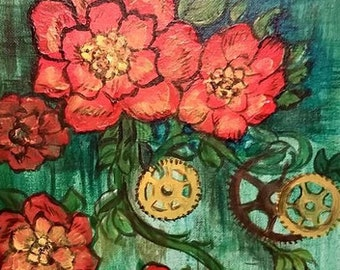 Steam Punk California Poppy's Acrylic Painting OOAK 9 inches x 12 inches Red Green Yellow Home Decor Wedding Birthday Holiday Gift Flowers
