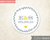 personalized wedding stickers with solid wreath, wedding favors, envelope seals, favor bag stickers, custom wedding stickers (S-66)