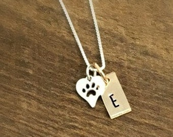 Dog Paw Necklace, Mixed Metals Custom Pet Jewelry, Pet Lover Gift, Silver and Gold Pet Dog Lovers Necklace, Remembrance, Memorial, Loss