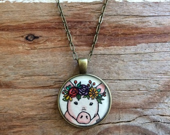 Pig with Floral Crown - Original Watercolor Hand Painted Pendant Necklace - Pig Love