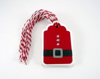 Santa gift tags, Santa suit tags, red Christmas tags, holiday gift tags, xmas tags set of 8, party favor, holiday packaging, gift wrap