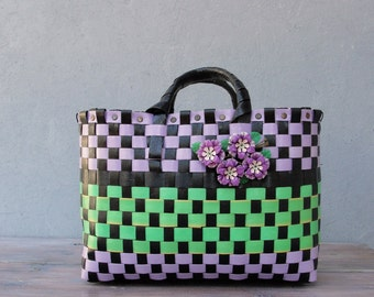 Basket Bag, Recycled Plastic Purse, The Cutest Bag, Lila, Green and Black, Enamel Flowers