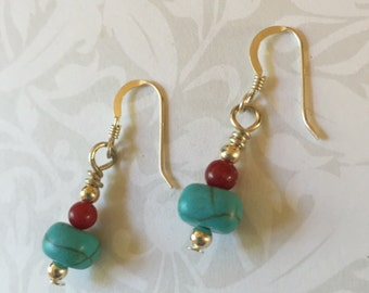 Turquoise Coral Sterling Silver Native American Drop Earrings