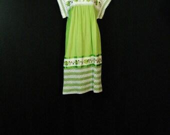 Boho Hippie Ethnic Embroidered Mint Green Cotton Vintage Dress ML