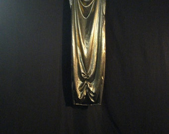Art Deco Gatsby Style Gold Lame Vintage Dress Chicv Glam Old Hollywood S