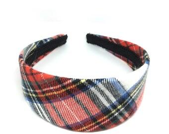 Wide Plaid Headband - Tartan Plaid Headband Preppy -  White, Red, Black, Blue, Yellow Green - Blair Waldorf - Girls and Women's Headbands