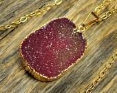 Cherry Druzy Necklace, Cherry Druzy Pendant, Cherry Druzy Jewelry, Gold Druzy Necklace, Gold Druzy Pendant, 14k Gold Fill Chain