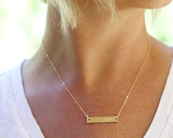 New Mom Necklace, 14K Gold Bar Necklace, Push Present, New Baby Gift, New Mom Jewelry, Gold Kids Initial Necklace, New Mum, Gold Necklace