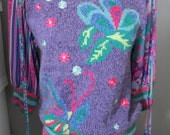 Vintage 70s 80s Ladies - Diane Freis for Marisa Christina - Butterfly Sweater - Feathers - Purple Colorful Sweater Blouse - Medium