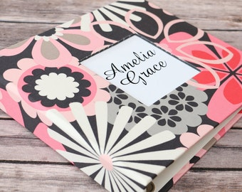 Baby  Book - Pink/Grey Blossoms (80 designed journaling pages & personalization included with every album)