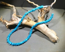 Sleeping Beauty turquoise necklace, AAA, 19'' inches long, top quality, intense natural color, undyed, rondelles, slices