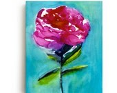 Peony Canvas Print - Large Wall Art - Bright Home Decor - Pink Flowers - Watercolor - Gallery Wall - Turquoise - Magenta - Peonies - Floral
