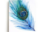 Peacock Feather Canvas Print - Large Wall Art - Bright Home Decor - Watercolor - Bird Art Painting - Living Room Decor - Gallery Wall