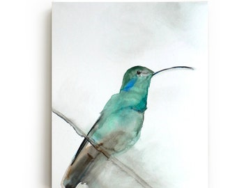 35% Off SALE - Hummingbird Canvas Print - Large Wall Art - Bright Home Decor - August - Watercolor - Bird Art Painting - Living Room Decor