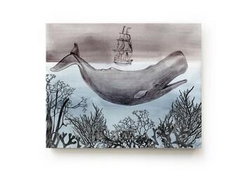 The Sea Canvas Print - Ocean Art - Beach House - Home Decor - Whale Art - Watercolor - Moby Dick - Gift for Him - Shore - Nautical Art
