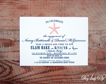 25 Starfish Engagement Party Invitations - Beach theme invitations - By My Lady Dye