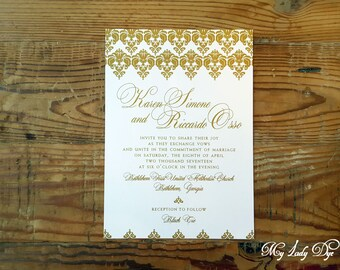 100 Vintage Lace Wedding Invitations - Gold and Ivory Invitation - Elegant Invitation - By My Lady Dye