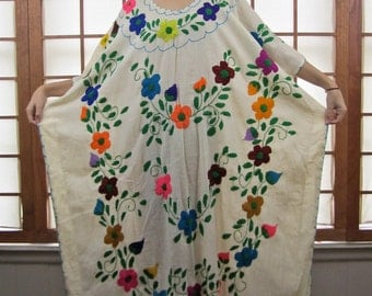 Vintage 70's Mexican Embroidered Gauze Maxi Caftan OS