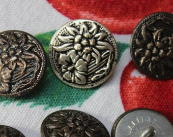 Buttons Metal Edelweiss 8 sewing Lot Set Sweater VINTAGE by Plantdreaming