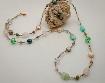 Pastel Beaded Necklace with French Steel Cut Metal Beads-Natural Stone Beads-Freshwater Pearls-Gold Filled Clasp