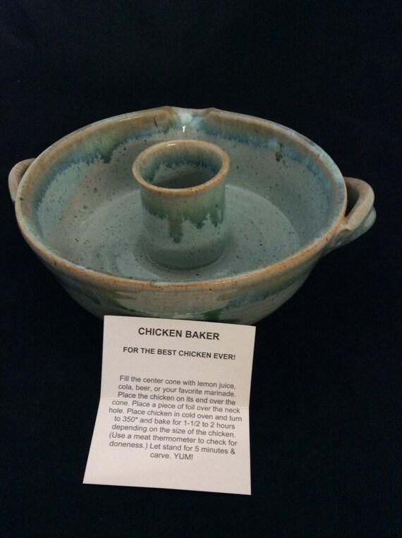 Chicken Baker/ Handmade/ Seafoam Green Glaze