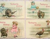 4 Antique Thanksgiving Postcards Children Turkeys Embossed Germany UNUSED Artist Signed HBG, H. B. Griggs