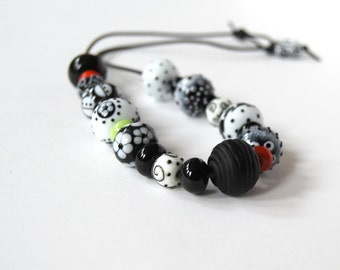 Funky Necklace, Lampwork Necklace, Black & White Necklace, Glass Bead Necklace, Beaded Necklace, Chunky Necklace