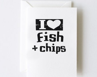 I Heart Fish and Chips Greeting Cards - Set of 5 Note Cards
