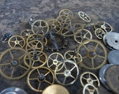 Vintage Watch Parts Brass Gears Wheels Dials Cogs Small Pocketwatch Parts Bits and Pieces