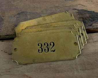 Vintage Numbered Brass Tag, 2-Hole Rectangle Plaque, Industrial Salvage Door Number Sign Plate Number No 332 335 336 339 337 338