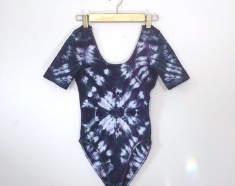 Psychedelic Shibori Dyed Bodysuit/Leotard - Size Medium - M - Icy Vibes