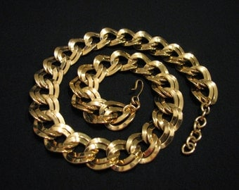 MINT Vintage Monet HEAVY Gold Plated Double Curb Chain Link Necklace