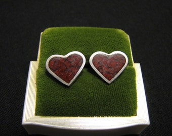 Vintage Southwestern Sterling Silver and Inlaid Red Jasper Heart Stud Pierced Earrings