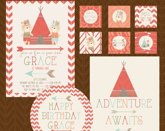 Tribal Birthday Party Printable Kit, Custom