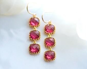Ruby chandelier earrings, Ruby earrings, Long earrings, Fuchsia earrings, Ruby drop earrings