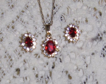 July Ruby Birthstone Necklace and Earring Set