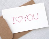 I Heart You Letterpress Mini Cards - Little Notes with Envelopes - Set of 8