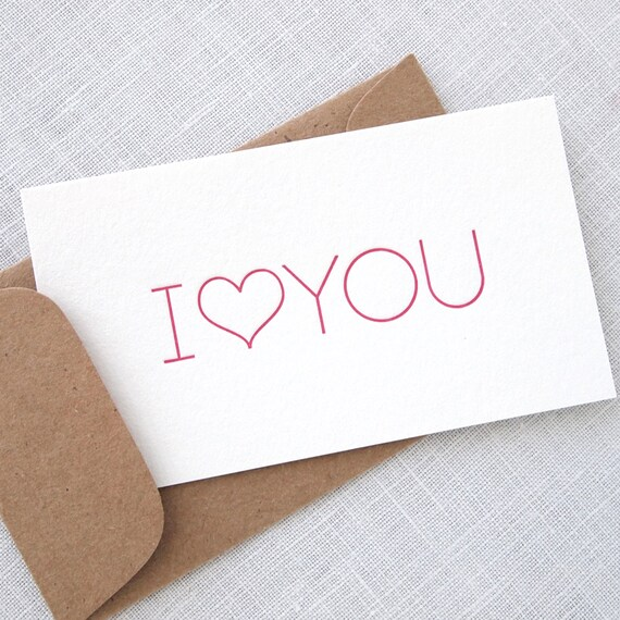 I Heart You Letterpress Mini Cards - Little Notes with Envelopes - Set of 8