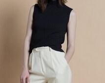 Vintage 90s Black Sleeveless Ribbed Silk Knit Turtleneck Top | M/L