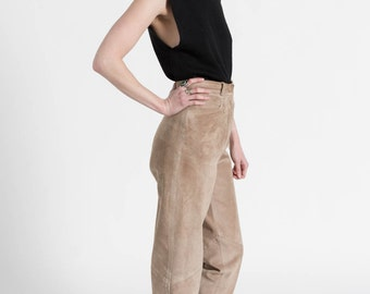 Vintage 80s Tan Brown High Rise Soft Suede Leather Trousers | 0/2