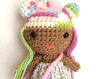 Cute doll, handmade crochet doll, soft toy, brown skin doll, multicolored hair, ready to ship