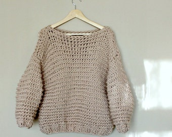 Chunky Sweater / Chunky Knit Sweater / Very Thick Sweater / Cream / Minimalist Sweater / Volume Sweater / Oversized / Bulky / Boyriend Knit