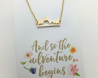 """Silver or Gold Mountain Necklace - Silver or Gold Bar Mountain Necklace - choose carded """"And so the adventure begins or in a gift box"""