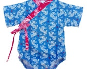 Baby Kimono Bodysuit - Blue Dragon - baby toddler - cute baby clothes japanese jinbei