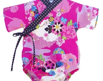 Baby Kimono Bodysuit - Fuchsia Asian Floral - babies toddlers - cool baby clothes japanese jinbei