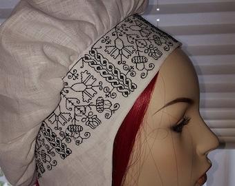 Renaissance, Elizabethan, Tudor, Costume, Biggins, Coif, 100% Linen (Plain) - MADE TO ORDER