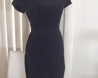 Vintage Little Black Velvet Wiggle Dress Mad Men Era -- Size M