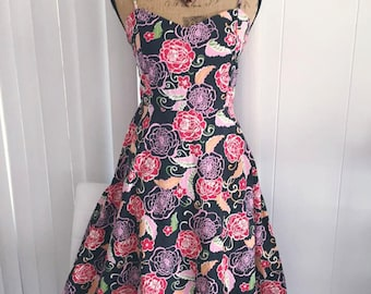 Sale Super Cute and Fun little retro Rose Print Stretch Cotton Sun Dress -- Pinup - Rockabilly Size S-M